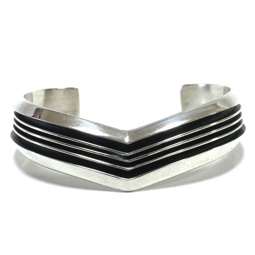 Navajo Vintage Sterling Silver Four Line Bangle by Tom Hawk