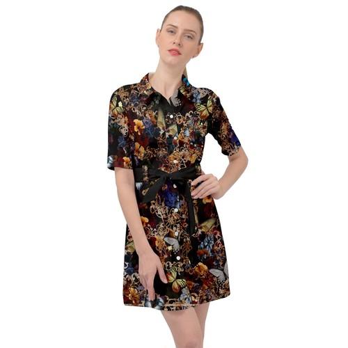 華と蝶 Black ベルテッドシャツドレス