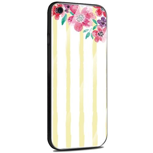 Jenny Desse iPhone 7 / iPhone 8 ケース カバー 背面強化ガラスケース  背面ガラスフィルム シリコンハイブリッドケース 対応 sim free 対応 花とストライプ(黄色)