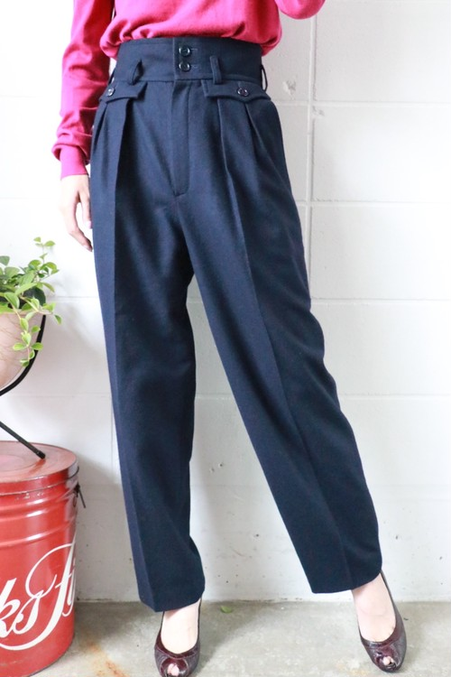 Yves Saint Laurent navy wool pants