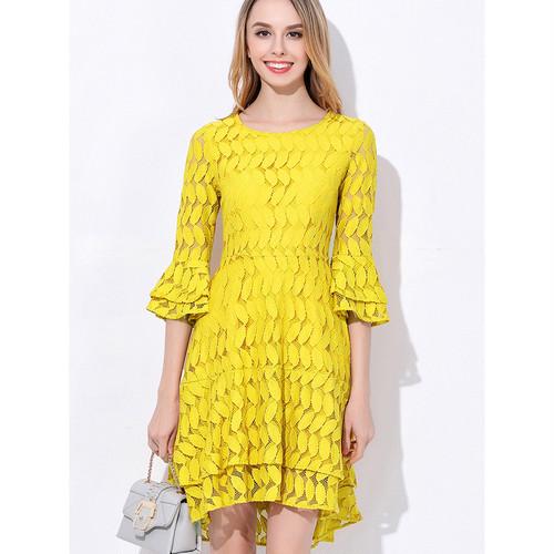 ☆SALE☆ ★オトナ可愛いレイヤードラッフル♪リーフ柄ドレス全3色★