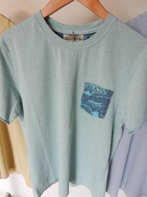 Hub&Spoke メランジ天竺オーバーDYE ポケット Tシャツ