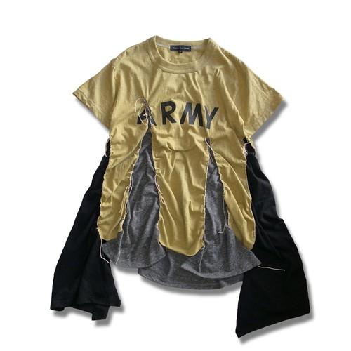 Remake Flare ARMY T-shirt -Yellow