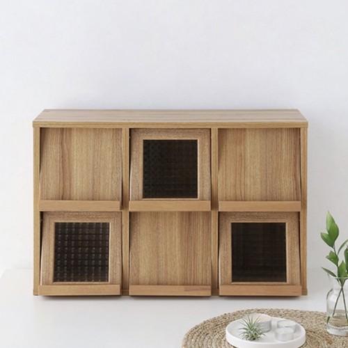 mini shelf 6windows A 3colors / ミニシェルフ ウッド 扉スライド式 ラック 棚 北欧 韓国