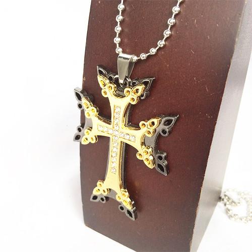 ジルコニア クロス 十字架 ラインストーン コンビ 金 銀 黒 ゴールド シルバー ブラック GOLD SILVER BLACK 1850