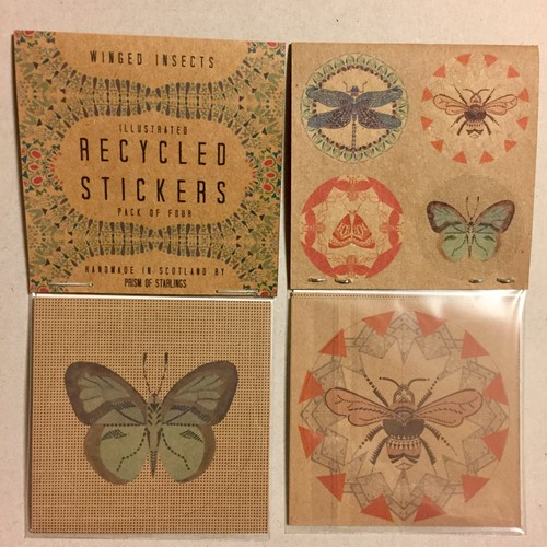 Illustrated Recycled Stickers * Winged Insects