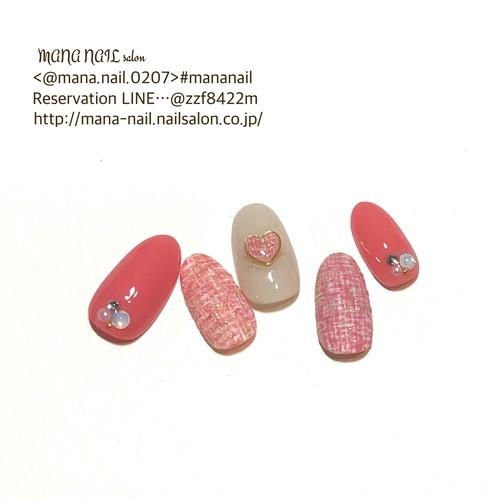 (57)新作【即日発送】〈Mサイズ〉ネイルチップ ピンク ツイード  ハート