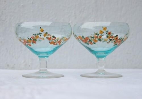 イギリス ハンドペイント クリスタル製アイスクリームカップ 淡いブルー クリスタル カップ