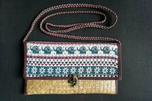 (OC008-3) 象柄かごバッグ(ショルダーバッグ)縄紐