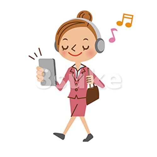 イラスト素材:歩きながらスマホで音楽を聴くビジネスウーマン(ベクター・JPG)