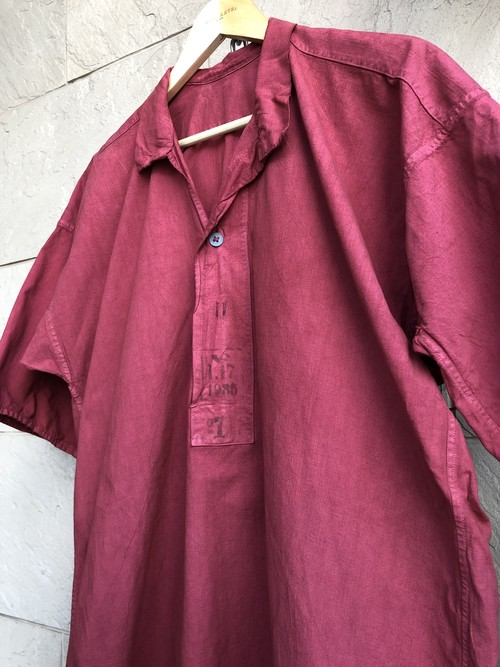 〜1940s Sweden military S/S shirts overdyed red color