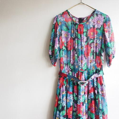 beautiful flower handmade dress/レトロフラワーのヴィンテージワンピース