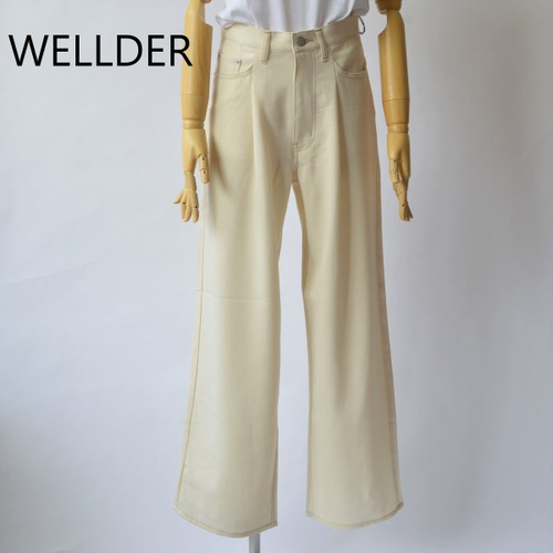 WELLDER/ウエルダー・Single reversed pleated & five pocket wide trousers