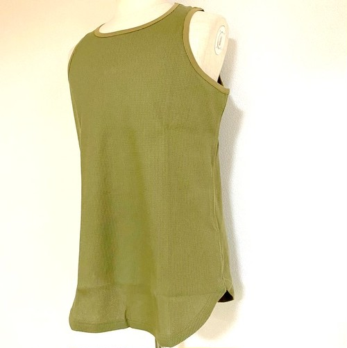 Long Length Waffle Tank Top(round model) Khaki