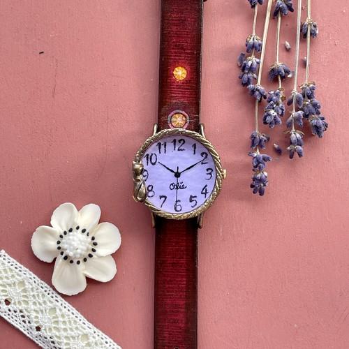 たそがれネコ腕時計Mラベンダー