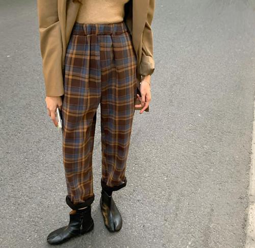 4色 チェック柄 ロングパンツ 裏起毛 ハイウエスト ウエストゴム ボトムス ゆったり カジュアル レトロ 大人可愛い 秋冬 韓国 オルチャン ファッション