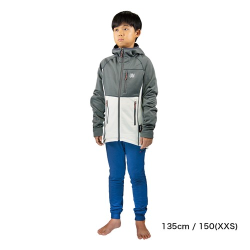 Kids 130 / UN3100 Mid weight fleece hoody / Charcoal : Cream