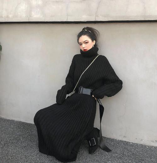 ニットワンピース ロング タートルネック リブ ベルト付き 長袖 ゆったり カジュアル 大人可愛い 韓国 オルチャン ファッション