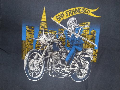 80's Hanes Beefy-T SKULL RIDER SAN FRANCISCO T-Shirts(黒)