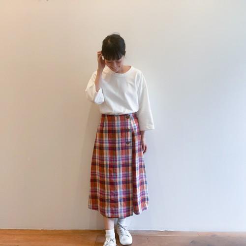 C-30396 Linen Madras Skirt-Style Pants