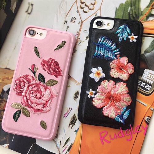 花柄 刺繍 PU iPhone case iPhone 6/6s/6plus/7/7plus ケース
