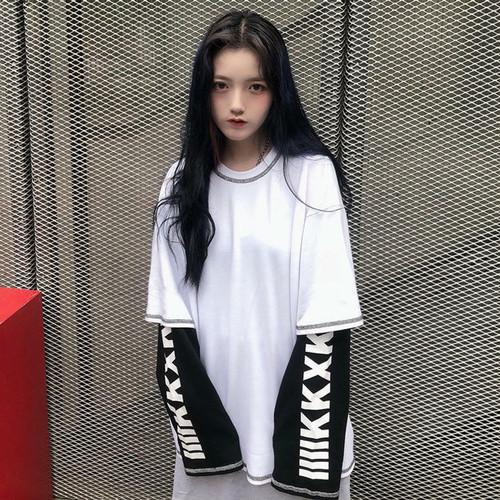 【送料無料】 袖ロゴがおしゃれ♡ ゆるだぼ 重ね着風 カットソー ストリート メンズライク オーバーサイズ