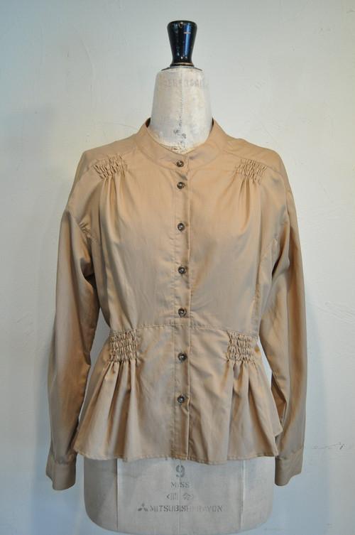 【RehersalL】gathering shirt blouse(camel) /【リハーズオール】ギャザリング シャツブラウス(キャメル)