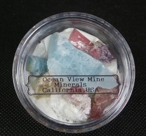 【鉱物標本セット】オーシャンビュー鉱山ミネラルセット#5 アクアマリン トルマリン クンツァイト  T162 天然石 鉱物セット パワーストーン