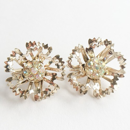 """Sarah Coventry"" gold & aurora rhinestone flower earring[e-730]"