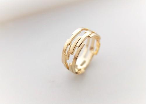 組み木ゴールドリング*KUMIKI solid silver ring(K18gold plating)