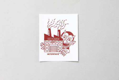 """HOUSE OF ""  STICKER   -WHT x RED-"