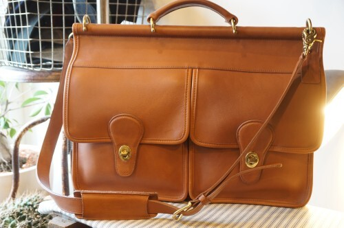 "90's COACH brown crossbody Briefcase ""double-turn-rock"""