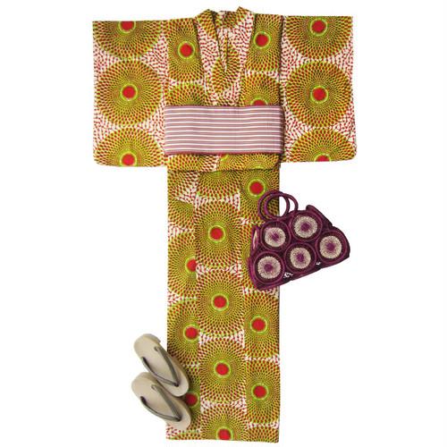 アフリカ布の浴衣 女物8 花火/ African Yukata for Women 8
