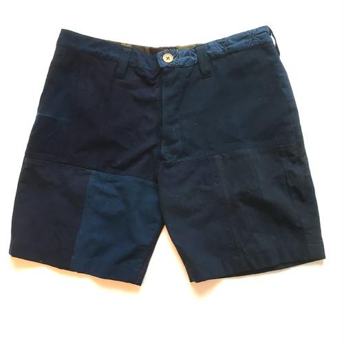 "KIRIKOMI ""切込"" 藍染 襤褸 リメイク パッチワーク ショーツ Japanese Indigo Vintage BORO Remake Patchwork Shorts"