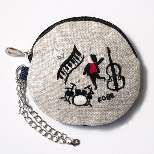 手刺繍ICカードポーチ「神戸ジャズ」