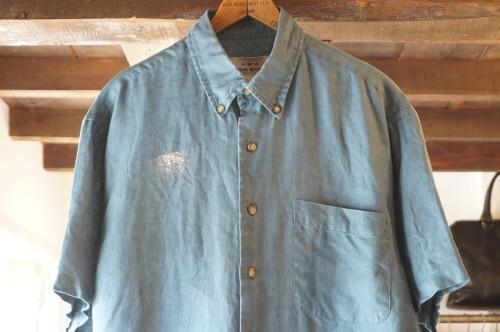 90's Eddie Bauer AKA turquoise linen s/s Shirt
