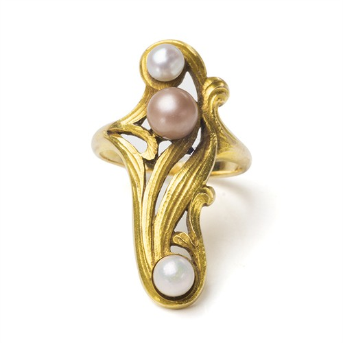 Art Nouveau Pearl Ornate Ring