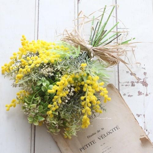 ラスティックかすみ草とブライトミモザのハーベストブーケ&ブートニア