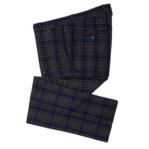 Relco London | Tartan Check Trousers - Grey×Blue