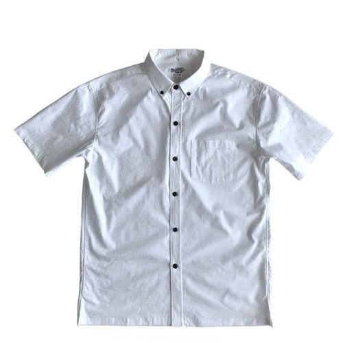 Mountain Men's ボタンダウン ホワイトアロハシャツ / TAPA  100%cotton  残り僅か