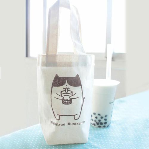 ドリンクホルダー 猫 コットン&麻製 A
