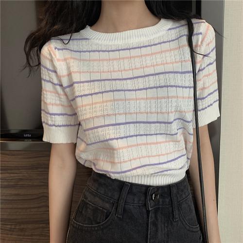【tops】元気いっぱい大人可愛い ストライプ柄ラウンドネック ニットTシャツ4色