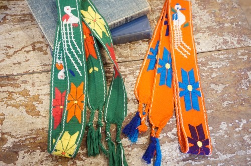old Mexican bird embroidered sash Belt
