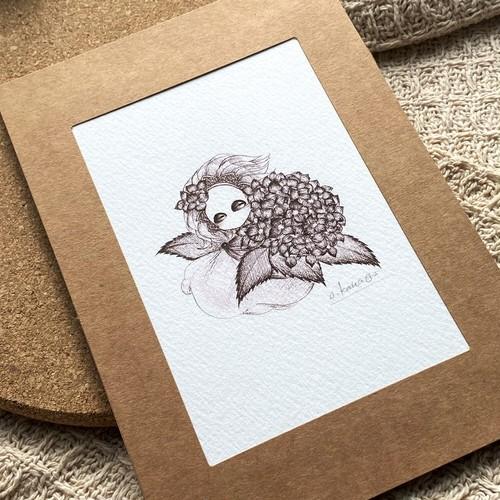 『hydrangea』 ポストカードサイズ原画(No.98)