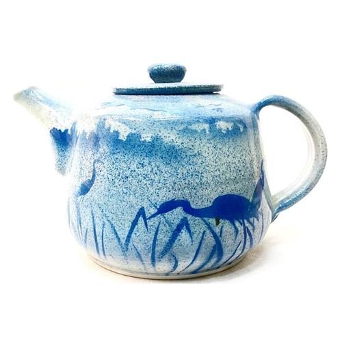 陶器の青いポット (SA082)