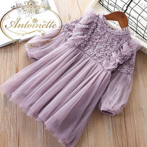 Girl Dresses Lantern Sleeve Princess Party Princess 2019 Spring Kids Lace Children Dress with Pearls Purple and White 3-7T