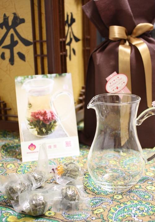 <茶器付きセット>新茶工芸茶5粒セット(5種類*1粒)+ 専用茶器1点 宅配便送料無料