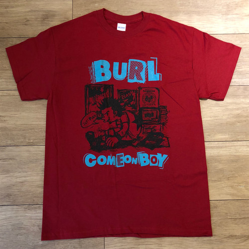 Come On Boy Tee(Deep Red/Light Blue)