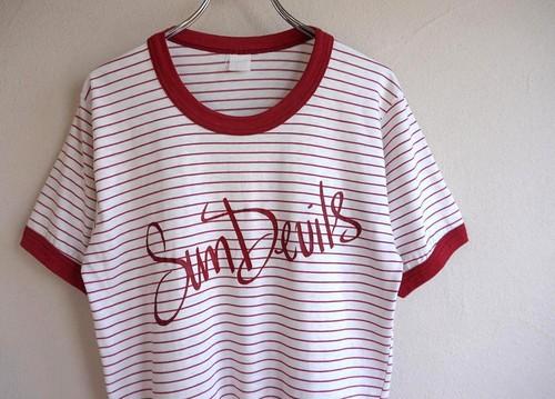 """1970's アリゾナ大学 """"Sun Devils"""" リンガー&ボーダー Tシャツ 実寸(S〜M位)"""