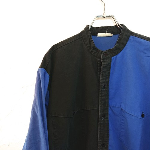 【USED】バンドカラー コットンシャツ ブルー×ブラック